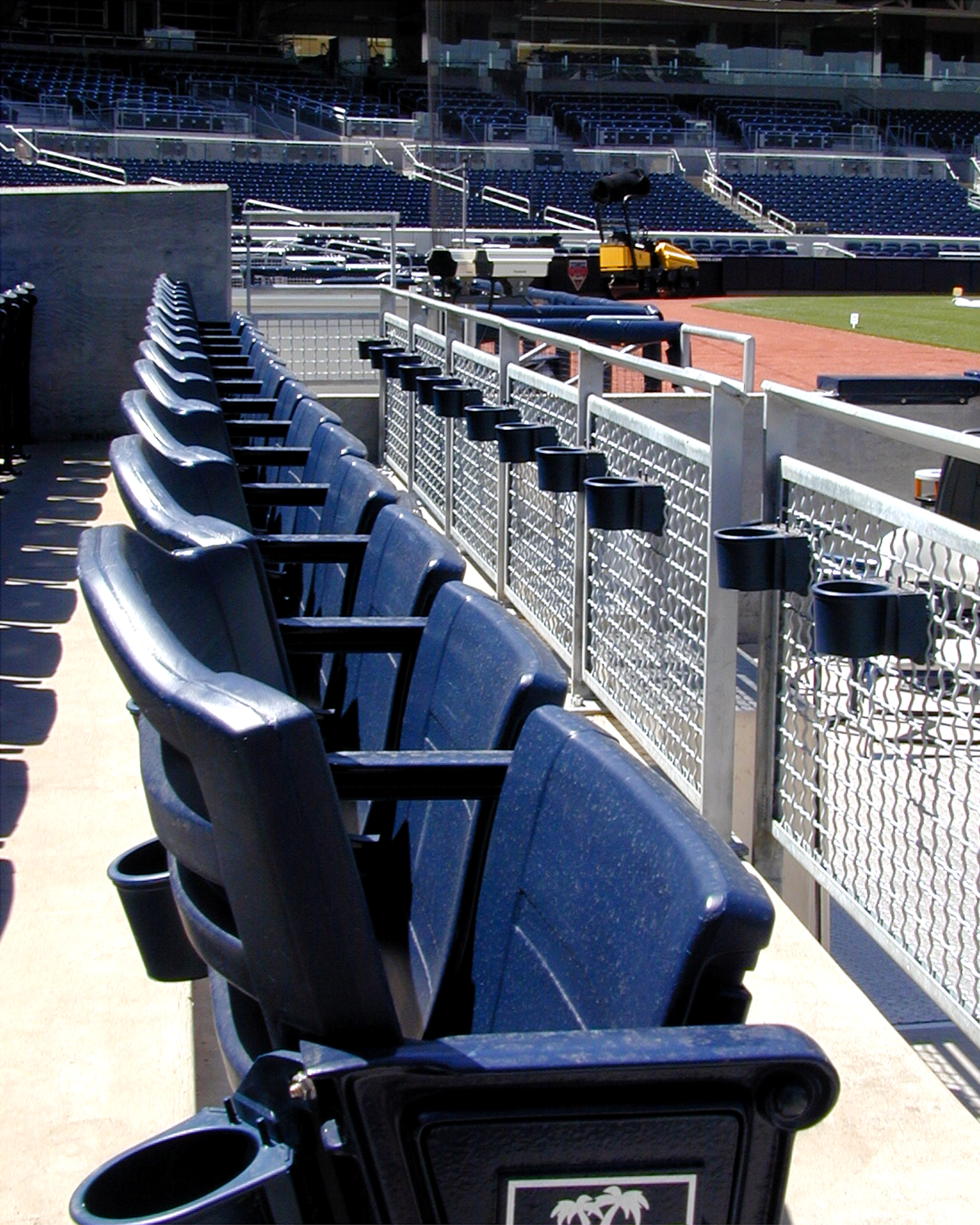 wire mesh railing infill panels in a stadium